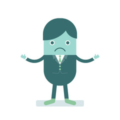 Vector illustration of businessman looking clueless