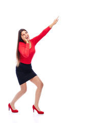 Excited business Woman pointing