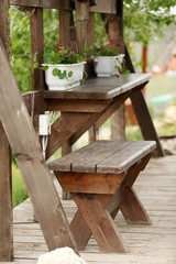 Wooden old bench and table
