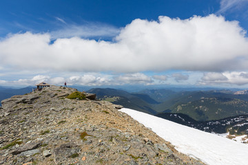 A view of the Cascade mountain range beyond Mt. Freemont Lookout