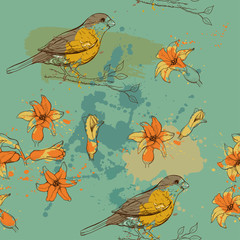 pattern of bird and flower