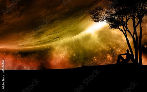 Fototapeta Surreal space scene
