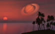 Palm tree island against a sunset sky with the planet Saturn