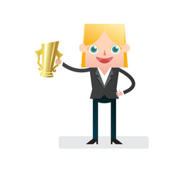 Victorious Businesswoman with golden cup