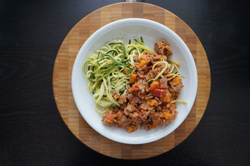 Zucchini Spaghetti Bolognese