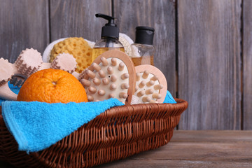 Shower kit in a brown rectangular basket