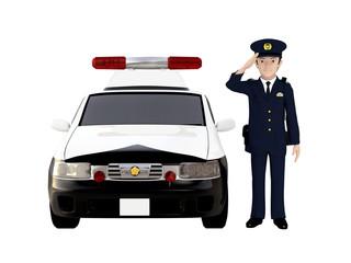パトカーと警官