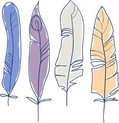 Набор из четырех перьев
