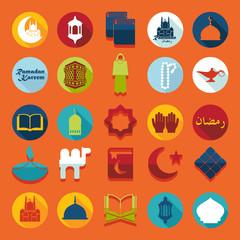 Set of flat icons: Ramadan Kareem