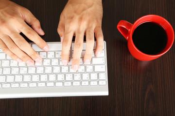 Man working with keyboard