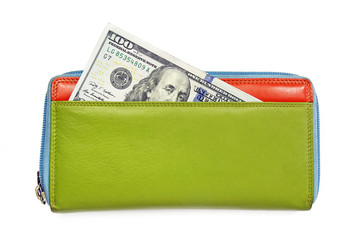 american dollars in colorful leather wallet