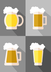 glasses of beer flat icons set