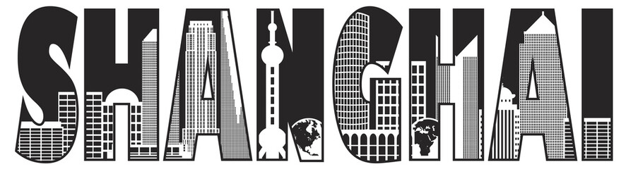 Shanghai City Skyline Outline Text Black and White Illustration