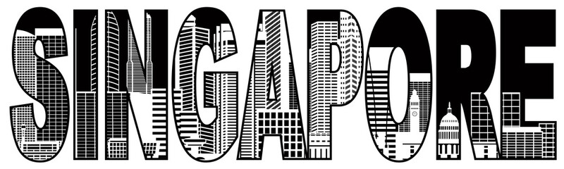Singapore City Skyline Black and White Text Illustration