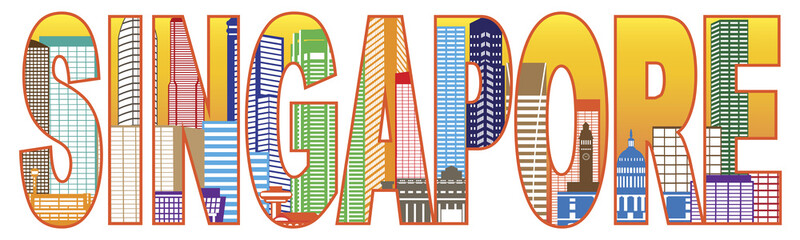 Singapore City Skyline Color Text Vector Illustration