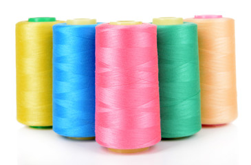 Colorful skeins of thread isolated on white