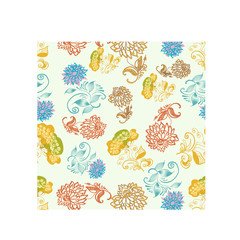 Seamless pattern from flowers and leaves.
