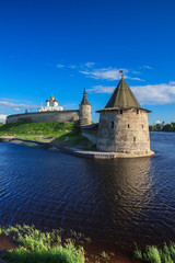 Tower of the Pskov Kremlin in the evening
