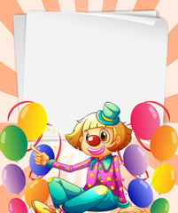 Empty bondpapers with a clown and balloons