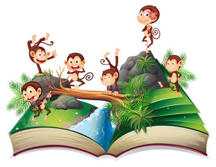 Pop-up book with monkeys