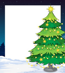 An empty christmas template with a christmas tree
