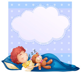 Banner with boy sleeping