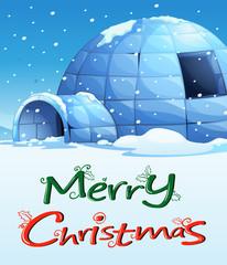 A christmas template with an igloo