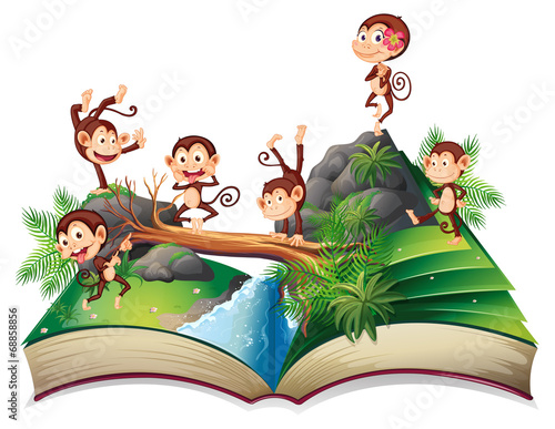 Pop-up book with monkeys - 68858856
