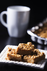 Marshmallow Peanut Butter Squares with Coffee Cup