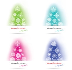 Set of 4 colorful Christmas trees  on a white background
