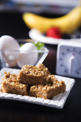 Vertical Peanut Butter Squares With Eggs and Fruits