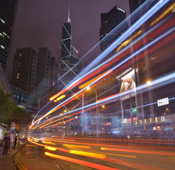 HONGKONG -SEPTEMBER 2 2013: Car light trails and urban landscape