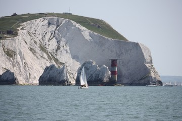 The red and white striped lighthouse at the needles