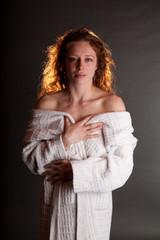 Redhead in White Bathrobe bare shoulders