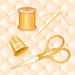 Sewing Set, antique gold scissors, EPS8 includes pattern swatch