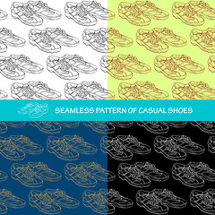 Seamless pattern a pair of casual shoes