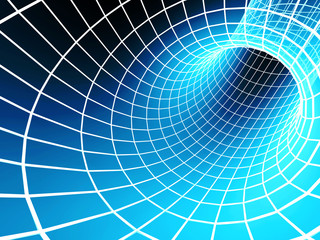 Blue abstract 3d tunnel from a grid
