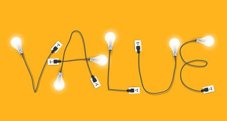 Value concept creative light bulb idea