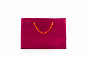 Blank pink paper shopping bag.