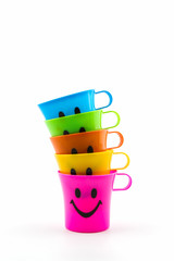 Happy smiley faces mug in row.