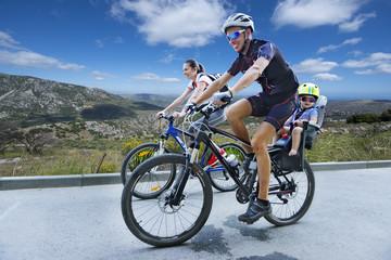 biking on a mountain road