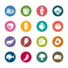 Food and Vegetables Color Icons