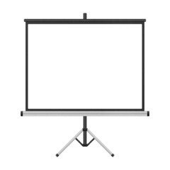 blank projector screen with tripod isolated for presentation in