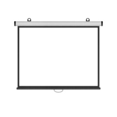 blank projector screen isolated for presentation in business of
