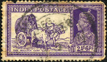 stamp printed in India shows Bullock cart and King George VI