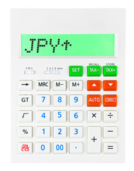 Calculator with JPY on display on white background