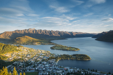 View of city of Queenstown, New Zealand during evening.