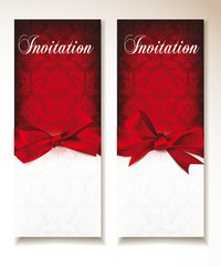 elegant red greeting cards with red ribbon and bows