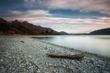 Shore of Lake Wakatipu, New Zealand during dusk