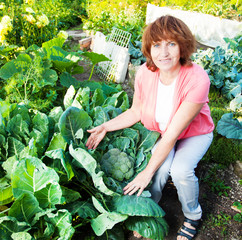 Woman grows harvest in the garden